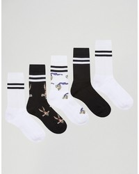 Asos Tube Style Socks 5 Pack With Looney Tunes Design
