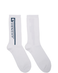 Givenchy White And Blue Logo Socks