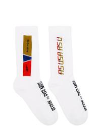Reebok By Pyer Moss White Collection 3 Logo Crew Socks