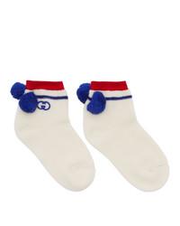 Gucci White Interlocking G Pom Pom Socks
