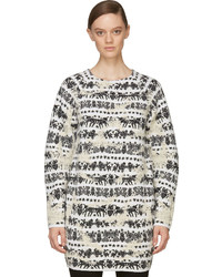 Alexander McQueen Black White Distressed Motif Sweater Dress