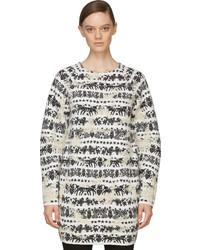 Alexander McQueen Black White Distressed Motif Sweater Dress