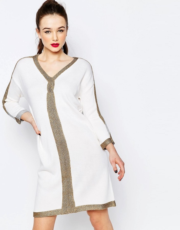 d3264692220 ... Love Moschino Metallic Trim Sweater Dress ...