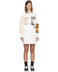 Perks And Mini Off White Oversized Picket Sweater Dress