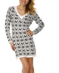 White Black Reindeer V Neck Sweater Dress