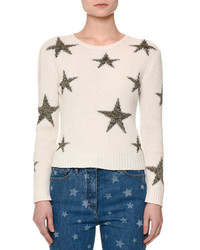 Valentino Star Intarsia Cropped Sweater Off White