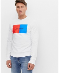 Calvin Klein Colourblock Box Logo Crew Neck Sweatshirt In White