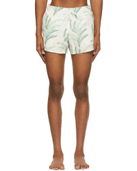 COMMAS Off White Green Palm Leaf Short Length Swim Shorts