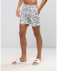 Original Penguin Swim Shorts Zebra Print In White