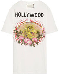 Gucci Appliqud Printed Cotton Jersey T Shirt White