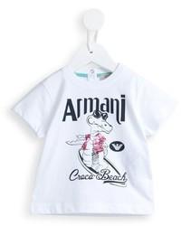 Armani Junior Croco Beach Print T Shirt