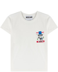Moschino Cotton T Shirt With Printed Breast Pocket