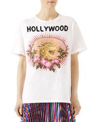 Gucci Leopard Print Cotton T Shirt White