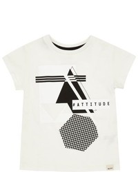 River Island Mini Boys White Printed T Shirt