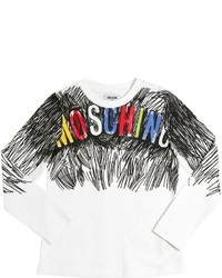 Moschino Scribble Printed Cotton Jersey T Shirt
