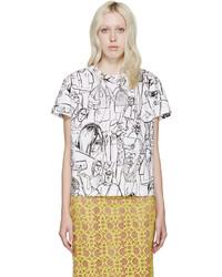 Emilio Pucci White Black Vintage Print T Shirt