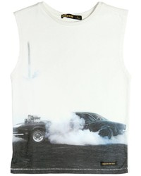 Finger In The Nose Sleeveless Car Printed Cotton T Shirt