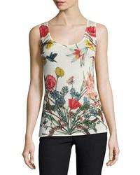 Neiman Marcus Cashmere Collection Superfine Wildflower Print Cashmere Tank