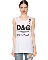 Dolce & Gabbana Logo Print Jersey Tank Top W Buttons