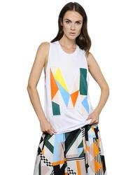 MSGM Oversized Printed Cotton Tank Top