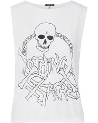 R 13 R13 Nothing Sacred Printed Cotton And Cashmere Blend Jersey Tank Off White