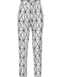 White Print Tapered Pants