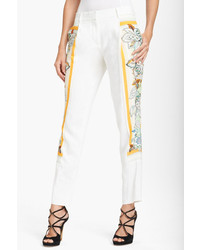 Roberto Cavalli Print Panel Linen Pants