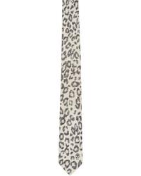 Alexander McQueen Ivory Leopard Print Tie