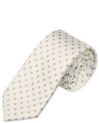 Charles Tyrwhitt Woven Slim White Flower Tie