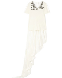 MM6 MAISON MARGIELA Asymmetric Printed Cotton Jersey And Satin Top