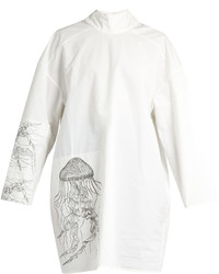 Awake Awake Jellyfish Print High Neck Cotton Blend Tunic Top
