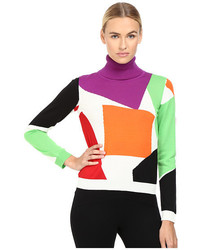 Boutique color block turtleneck sweater medium 1160062