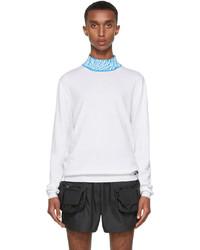 Fendi White Blue Ff Vertigo Collar Turtleneck