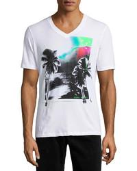 White Print V-neck T-shirt