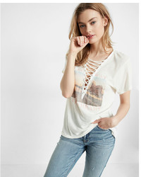 Express Deep V Neck Lace Up Wild Heart Graphic Tee
