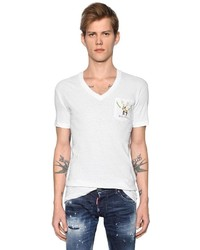 Deer printed slub cotton jersey t shirt medium 3733910