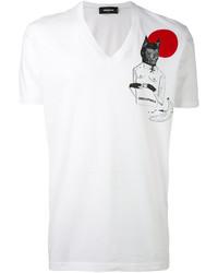 Illustrated print v neck t shirt medium 4471974