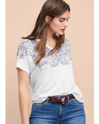 Printed linen t shirt medium 846905