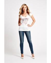 de501a60faed GUESS Short Sleeve V Neck Washed Tee, $29 | GUESS | Lookastic.com