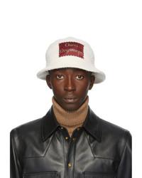 Gucci White Wool Label Bucket Hat