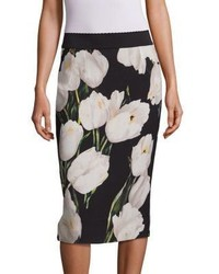 Dolce & Gabbana Tulip Print Wool Pencil Skirt