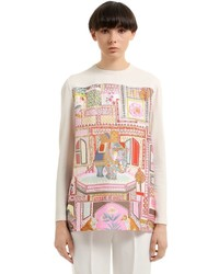 Salvatore Ferragamo Wool Knit Printed Silk Twill Tunic