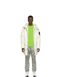 Stone Island Off White Down Hooded Puffer Jacket