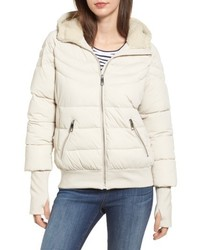 Oversize hooded puffer jacket with knit faux shearling trim medium 4953105