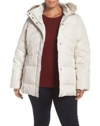 Larry Levine Plus Size Puffer Coat With Faux Fur Trim