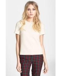 White Quilted Crew-neck T-shirt