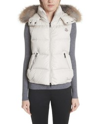 Moncler Gallinule Quilted Down Vest With Detachable Genuine Fox Hood
