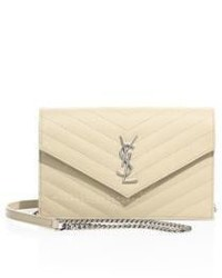 Saint Laurent Small Monogram Mattelasse Leather Chain Wallet