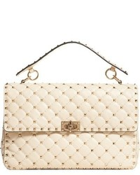 Valentino Rockstud Quilted Leather Shoulder Bag White