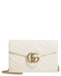 Gucci Gg Marmont 20 Matelasse Leather Wallet On A Chain Red